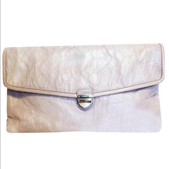 Prada Handbags - Prada antique nappa leather oversized clutch bag